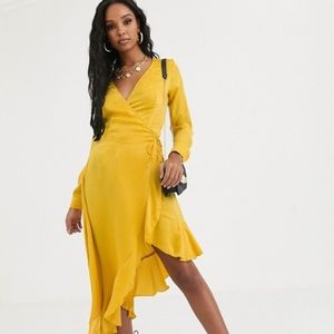 ASOS Missguided Satin MIDI Yellow Wrap Dress